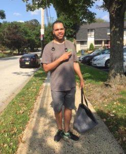 Image of Robert walking to work