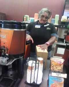 Tracy working behind counter at Wawa