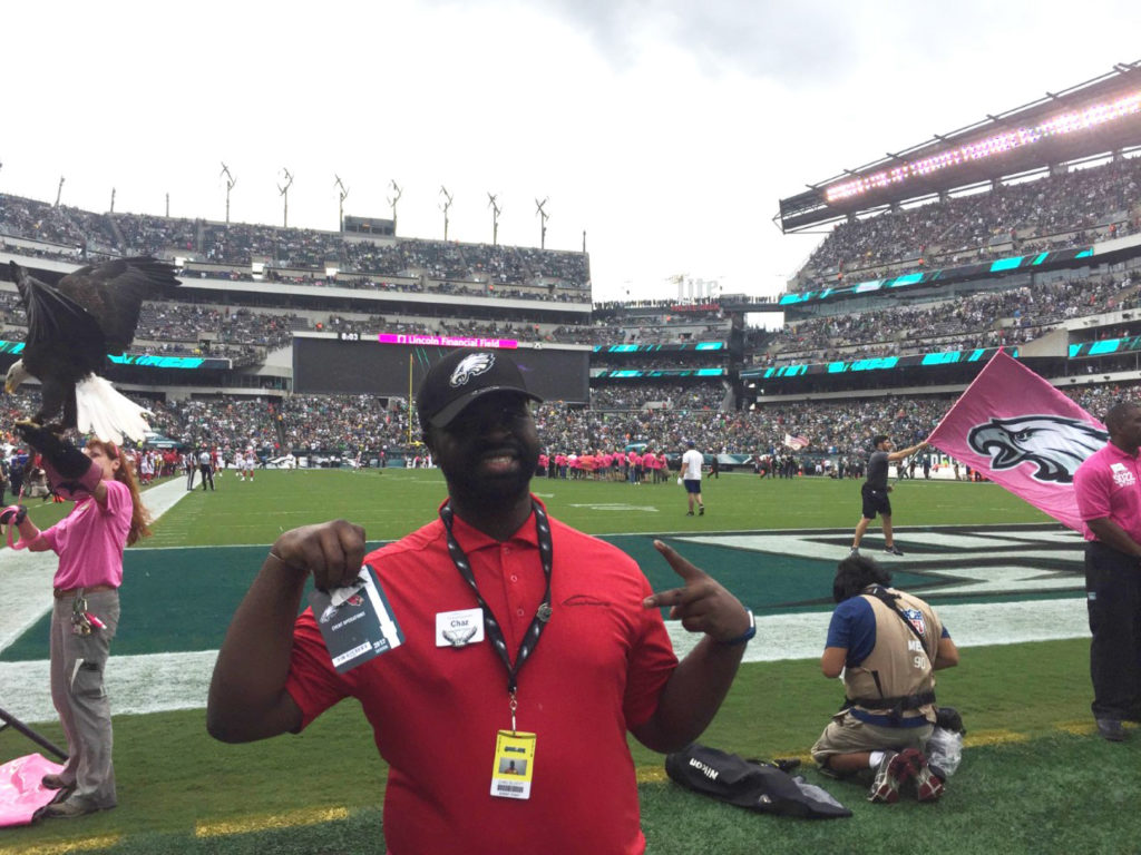 Picture of Chaz in uniform, working at Lincoln Financial Field