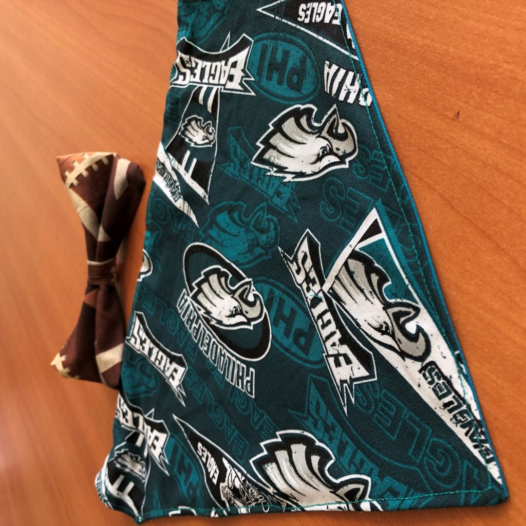 Picture of bandana and bowtie made from Philadelphia Eagles fabric