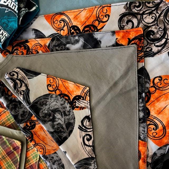 Bandana made from various Halloween-themed fabrics
